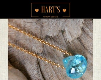 Blue Topaz Teardrop Pendant 14K Gold Necklace