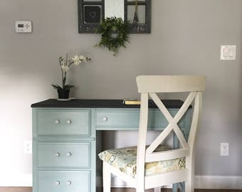 SOLD Blue And Gray Refinished Desk Shabby Chic Furniture Modern Farmhouse Home