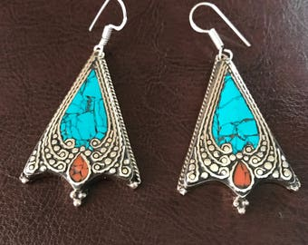 Turquoise earrings, tribal earrings, Boho gypsy, Nepal statement earrings,turquoise jewelry, Tibetan Jewellery, drop earrings, Sterling silv