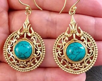Turquoise brass earrings, tribal earrings, statement earrings, drop earrings, turquoise jewelry, boho earrings, Indian gold earrings