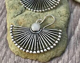 Moonstone earrings, moonstone jewellery, drop moonstone earrings, brass earrings ,gypsy earrings,bohemian earrings,