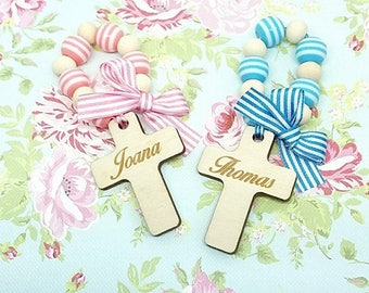 Christening gift. Baptism gift. Holy Communion gift. Personalised. Handmade. Different colours. Mini rosaries.