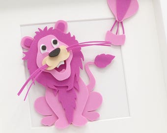Childrens Lion Picture. Personalised Lion 3D Funky Foam Frame. Nursery Decor. Kids Bedroom Decor. Special Needs Kids Childrens Lion Gift