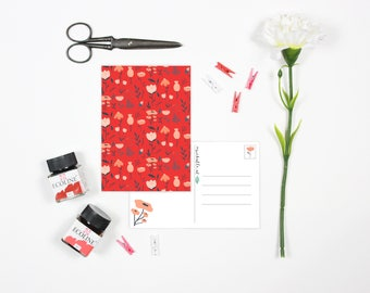 Cute card with red and pink flowers