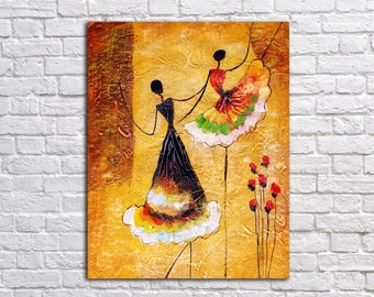 Dance Wall Art, Art Print on Canvas, Colorful painting , Canvas Art, Wall Decor,  Interior Art, Living Room Decor