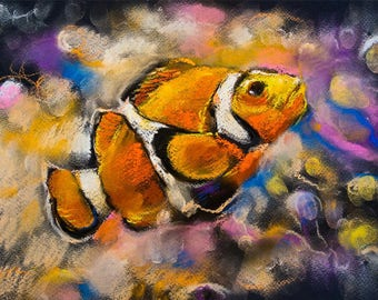Art Print on Canvas, Colorful painting Fish, Drawing Colored Pencils, Canvas Art, Interior Art, Living Room Decor