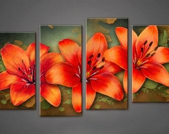 Canvas Art, Interior Art, Living Room Decor, Flower Art, Wall decor 4 Panel Canvas,  Photo Print on Canvas,  5 piece wall art