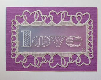 """Card paper lace Pergamano """"All you need is love"""""""