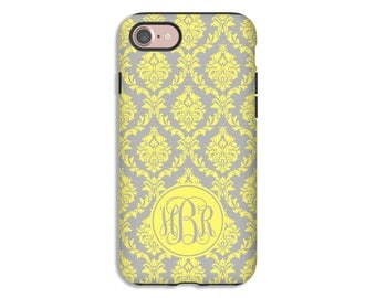 iPhone 7 case, yellow damask iPhone 7 Plus case, monogram iPhone 6s plus case, iPhone 6s case, iPhone 6 Plus case/6 case, iPhone SE case