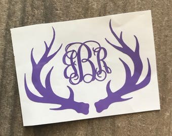 Antlers Monogram Decal Sticker / Yeti Antler Decal / Manly Monogram / Car Men Decal / Hunting Decal