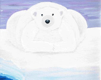 Polar Bear resting on ice