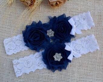 Navy Bridal Garter,  Wedding Garter Blue,  Wedding Garter Set, Something Blue,  Handmade Garter, Toss  Navy Blue Garter,  Lace Bridal Garter