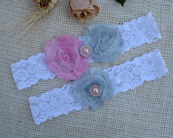 Garter Pink Grey, White Glitter Garter, Grey Bridal Set, Silver Garter, Garter Set Grey, Garter For Brides, Keep Garter, Grey Bridal Garter