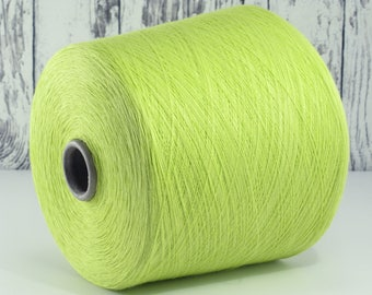600g cotton yarn on cone, Italy/cotton yarn (Italy) on cone, lime: Y001096