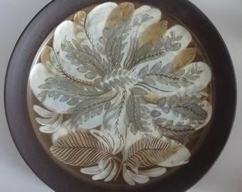 Vintage Pru Green 1980s Leaf Design Studio Pottery Plate Gwilli Pottery