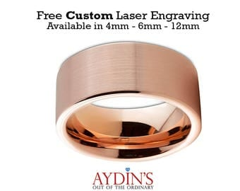 Men and Womens Tungsten Wedding Band - 12mm Ring - 18K Rose Gold Tungsten - Pipe Cut Flat - Brushed and Polished - Man Wedding Band Tungsten