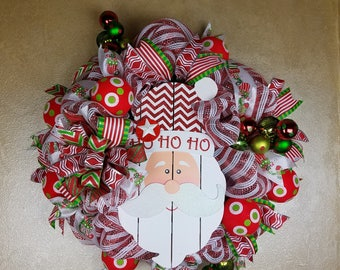 Christmas Wreath, Christmas Decor, Santa Wreath, Evergreen Wreath, Seasonal Wreath, Merry Christmas Wreath