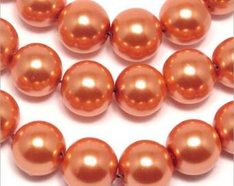 20 10mm Orange Czech glass pearl beads