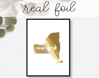 New York State Print // Real Gold Foil // Minimal // Gold Foil Print // Decor // Modern Office Print // Typography // Fashion Print