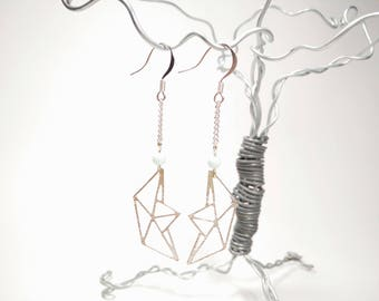 Silver Geometric Origami Boat Earrings - Pale Blue Dyed Jade
