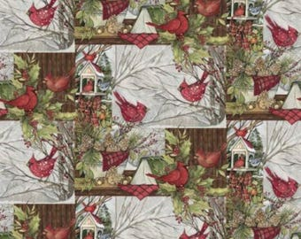 Christmas Fabric, Bird Fabric: Christmas Cardinal Red Birds with Bird House 100% cotton fabric by the yard (SC140)