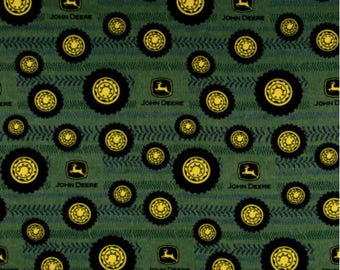 John Deere Fabric, Tractor Fabric:  New John Deere Tires On Tread Adult Green 100% cotton FLANNEL fabric by the yard  (SC1091)
