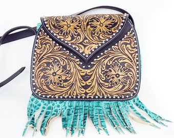 Handmade Turquoise Gator Classic Floral Tooled 2 Tone Leather Shoulder Hand Bag Western Style Fashion Purse