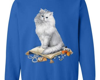 Princess Queen Cat on Pillow Love Pets Dogs Cats Cat Lovers Birthday Gift Unisex Crewneck Sweatshirt