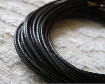 "1/5x Black Waxed Cord, 2mm Waxed Cord, 17.5"" Black Necklace Cord, Adjustable Round Necklace Cord + Lobster Clasp + Extension Chain"