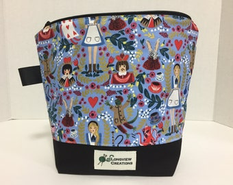 Wedge Bag, Knitting Project Bag, Sock Size, Alice in Wonderland, Cotton and Steel