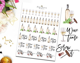 WHITE WINE Icon Planner Stickers/Wine Time/Drinks Icons/Functional Stickers for Erin Condren Planner/Happy Planner/Personal Planner/TN