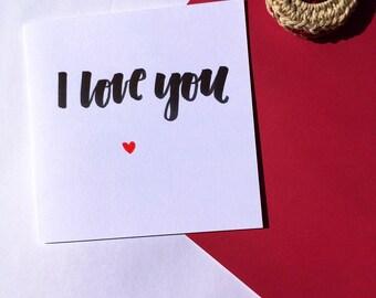 Handwritten Valentines Card, Love Card