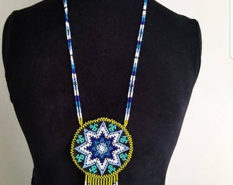 Beaded necklace, huichol necklace, native American necklace