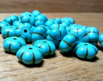 Flower Shaped Turquoise(Howlite)Beads, 11x6mm, 32ct.