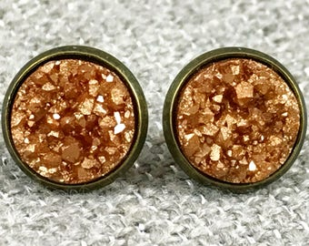 Amber Druzy Earrings - Drusy - Bridesmaid Gift - Mother of the Bride Earrings - Autumn Earrings - Fall Earrings - Druzy Jewelry - Earrings