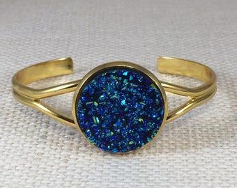 Druzy Bracelet - Drusy Cuff Bracelet - Blue Druzy Bracelet - Bridesmaid Gift - Trend Jewelry - Statement Bracelet - Druzy Cuff Bracelet -