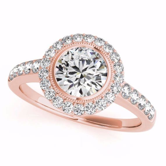 Engagement Ring , 1.38 CT Round Natural Diamond Engagement Ring , 14K Rose Gold Ring Wedding Bridal Jewelry Handmade Ring