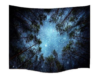 Forest Starry Tapestry Wall Tapestry Wall Hanging Galaxy Tapestry Hippie Tapestry  Tree Tapestry Night Sky Tapestry Mandala Bohemian