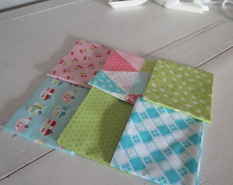 Riley Blake Glampercious set 1 fat quarters 100% cotton fabric, pink cherry, triangle pennants, gingham tablecloth blue camper