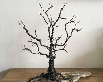 Twisted Wire Tree on a Unique Piece of Driftwood