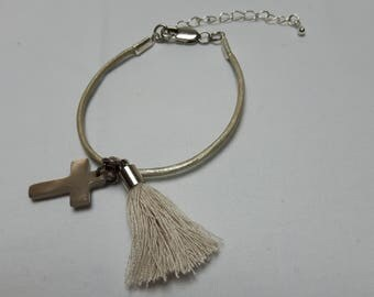 Leather Bracelet with cross and tassel