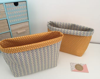 Storage basket or empty Pocket tisssus, in shades of yellow with Chevron