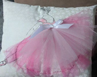 Pink, tutu, ballerina. Three dimensional accent pillow.
