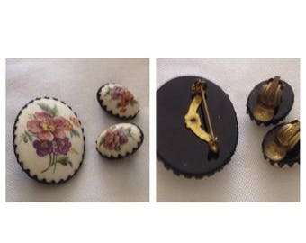 Anniversary Sale Beautiful Flower Broach and Earrings Marked Germany