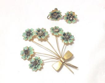 Vintage Flower Pin and Earrings