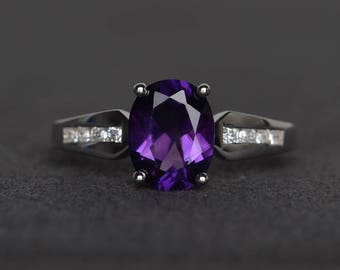wedding ring natural amethyst sterling silver purple gemstone ring oval cut February birthstone ring