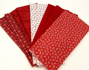 Red fat quarter bundle,10 FQ's 2 each of 5 different small prints in bright reds, cotton quilt fabric, fabric remnants, craft sewing bundle