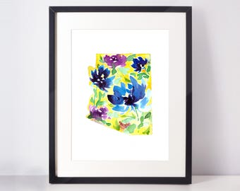 5x7 Arizona Blue-and-Yellow Flowers Watercolor Print