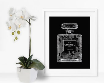 Chanel No 5 Black Orchid Faux Silver Foil Art Print-Instant Digital Download