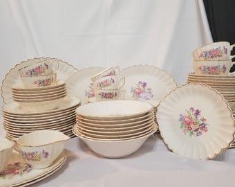ON SALE, Leigh ware set, Leigh Potters Set, Leigh ware full Set, Leigh ware dinner set, Vintage Leigh ware, 22K Porcelain, Vintage Porcelain
